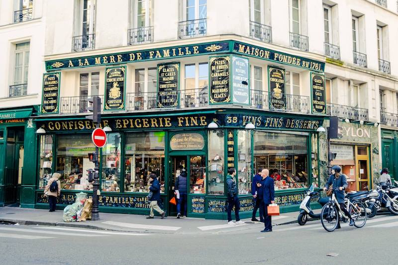 Photo of A la Mere de Famille, a beautiful Parisian confectionary, one of the stops on a self guided walking tour of Paris' covered passages.