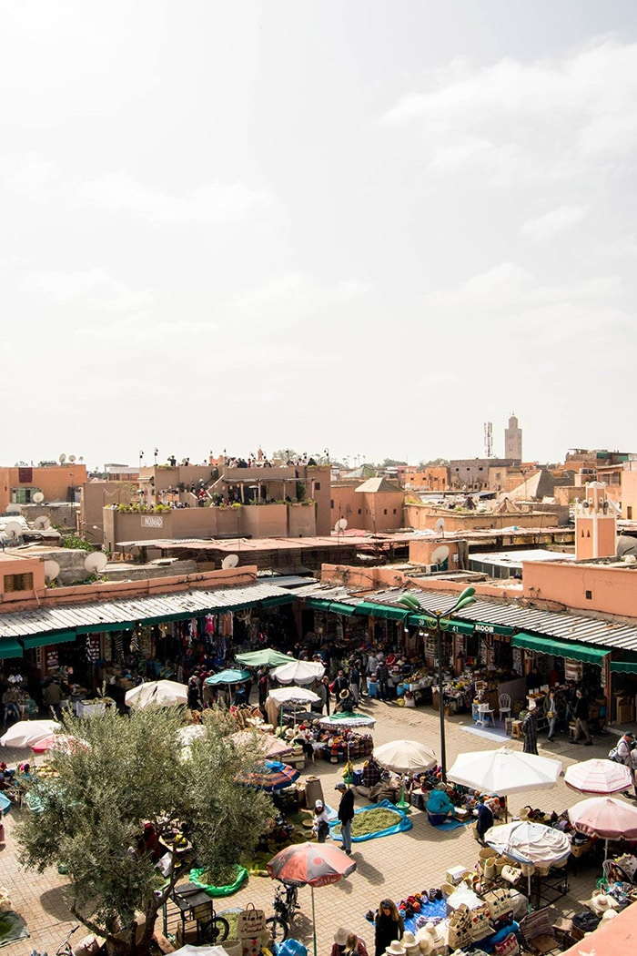 View from NOMAD restaurant in Marrakech, Morocco. Read the perfect laid-back itinerary for Marrakech Morocco in three days! #travel #Morroco #Marrakech