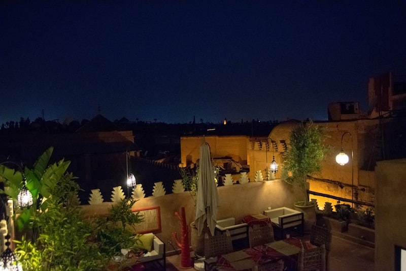Photo of rooftop of restaurant in Marrakech Morocco. Read more tips for spending three days in Marrakech with the perfect laid-back itinerary for Marrakech. #travel #food #morroco