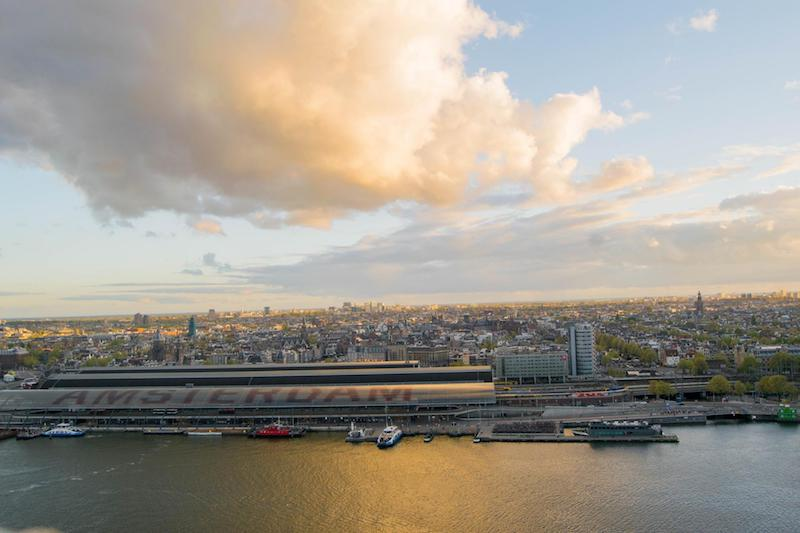 Photo from A'DAM tower in Amsterdam, the Netherlands. Read insider tips for traveling to Amsterdam on a budget. #travel #amsterdam #netherlands