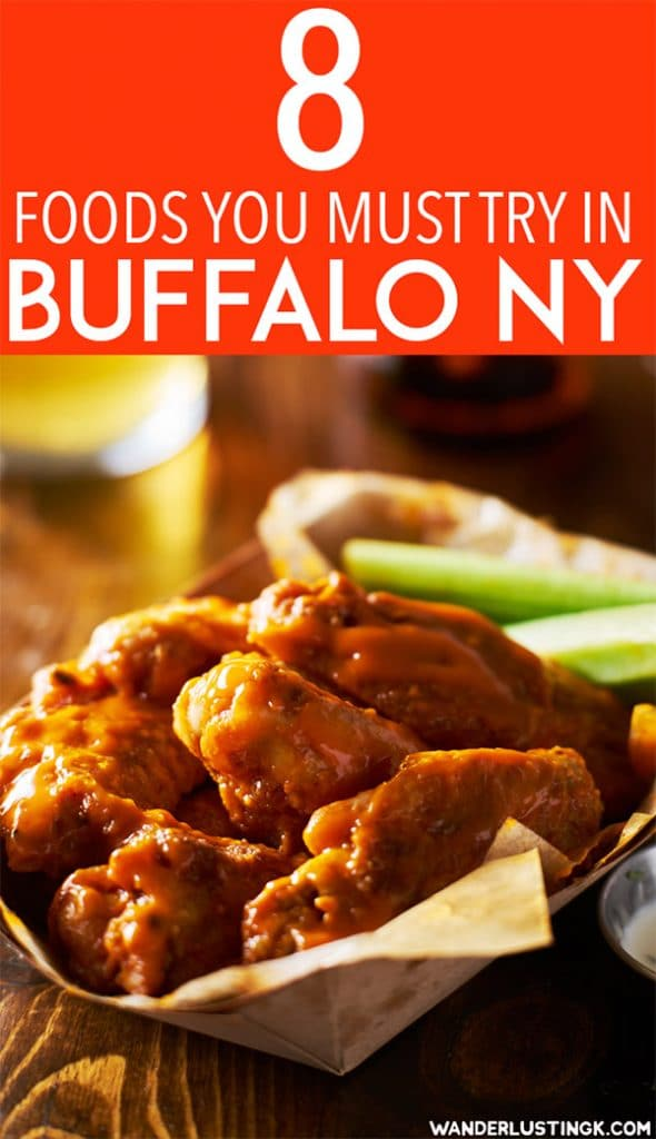 Planning your trip to Buffalo? A food guide by a resident on food that you must try in Buffalo NY, including where to eat the best Buffalo wings in Buffalo NY and the best places to eat in Buffalo. #travel #food #Buffalo #Buffalowings #WNY #NY #USA