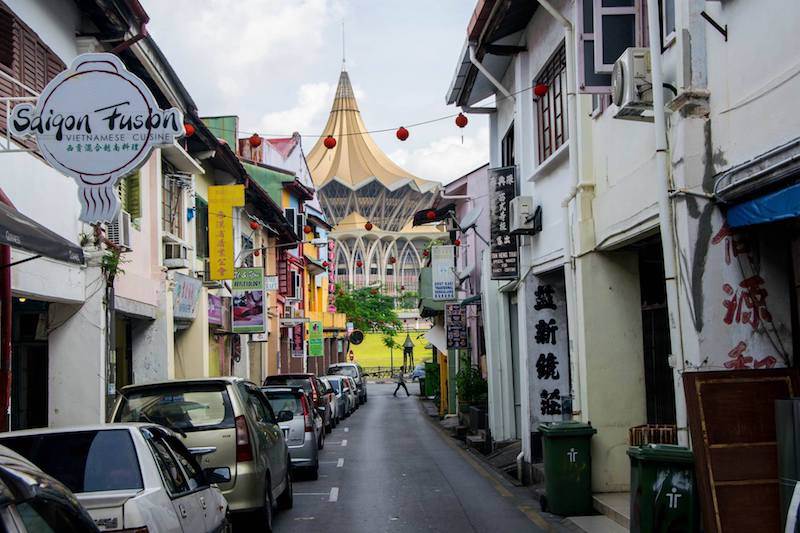 Kuching cityscape. This Malaysian city is one of the best places to visit in Borneo for cultural travel. Read a complete Borneo itinerary!