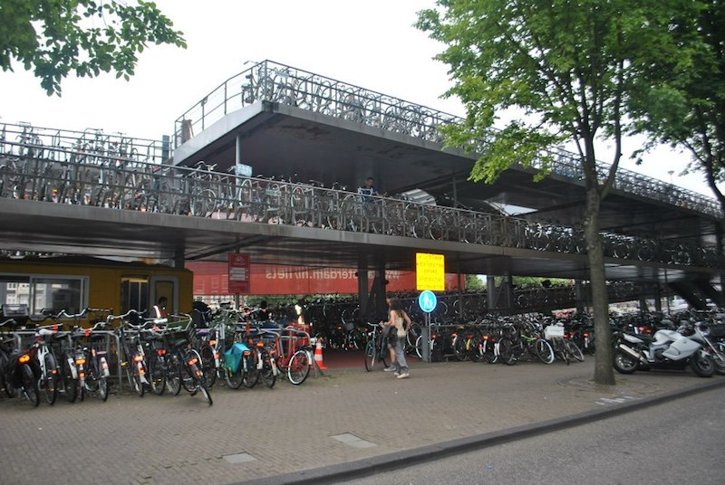 Bike parking garage in Amsterdam. Read tips on things to know about biking culture in Amsterdam!