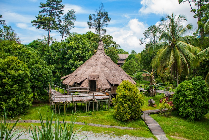 Photo of Sarawak Cultural Village, a day trip from Kuching Malaysia. This living museum is a must-see for anyone visiting Borneo interested in cultural travel. Be sure to include it in your two week holiday to Borneo!