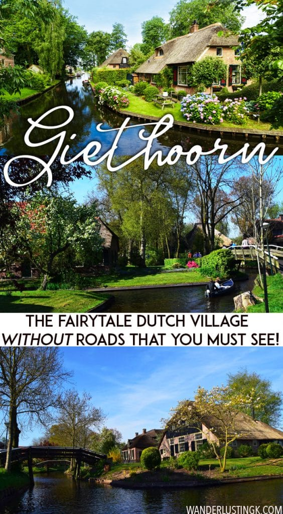 Planning your trip to the Netherlands? Take the most beautiful day trip from Amsterdam to Giethoorn, the village without roads. You must see this gorgeous Dutch village. Read a complete guide to Giethoorn with tips for visiting Giethoorn for one day. #travel #Netherlands #giethoorn #dutch