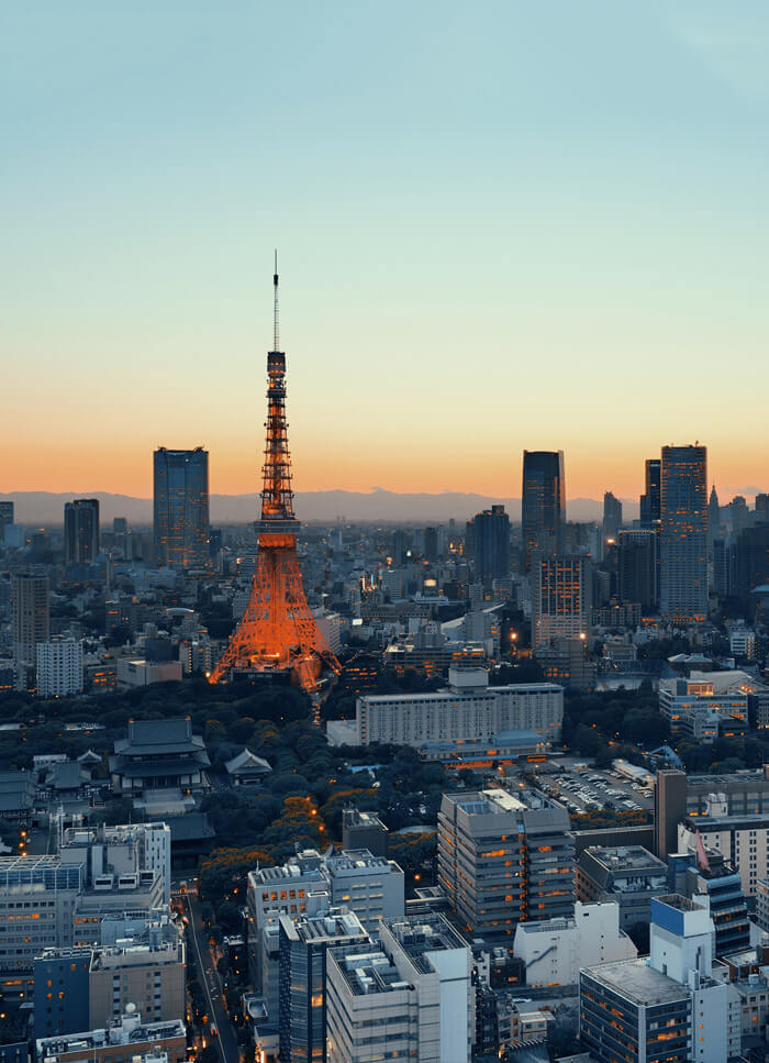 Sunset view of Tokyo Japan. Read about five unusual things to do in Tokyo to add to your Tokyo bucket list! #tokyo #japan #travel #asia