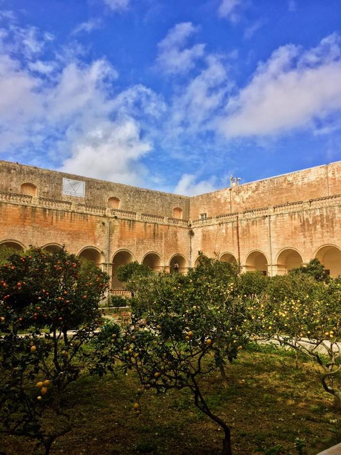 St. Dominic's Priory garden in Rabat, Malta. This beautiful church is one of the best things to do in Malta during a four day trip to Malta! Read the perfect Malta itinerary! #travel #Malta #europe #Rabat