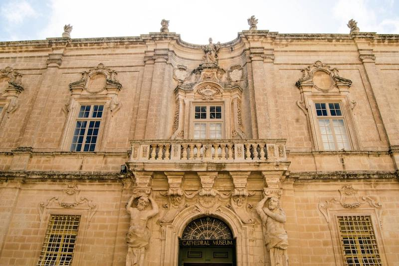 Cathedral Museum in Mdina Malta. This museum in Malta has one of the most beautiful exteriors in Mdina. If you're visiting Malta, be sure to include Mdina in your Malta itinerary! #malta #architecture #Mdina #Europe #travel