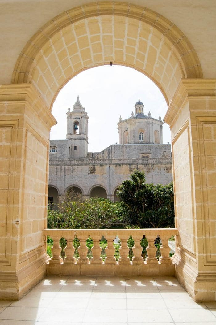 VIew of St. Dominic's Priory in Rabat, Malta. This stunning church is something not to miss during your trip to Malta, even if you have only three days in Malta! #travel #Malta #europe #Rabat