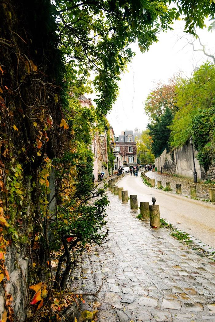 Rue de l'Abreuvoir in Montmartre. This beautiful street in the 18th arrondissement is one of the prettiest in Paris. Be sure to include this in your walking tour of Montmartre! #travel #Paris