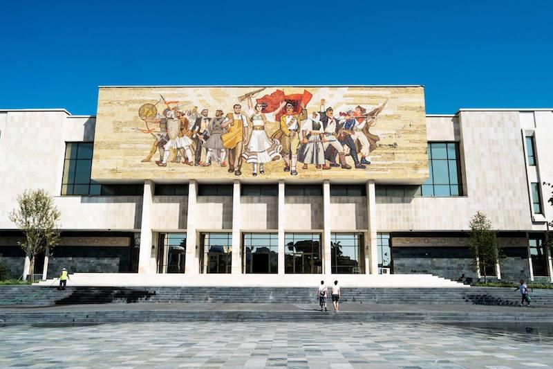 Skanderbeg Square, one of the main squares in Tirana. Read about what to do in Albania. #Albania #travel #Balkans #Tirana
