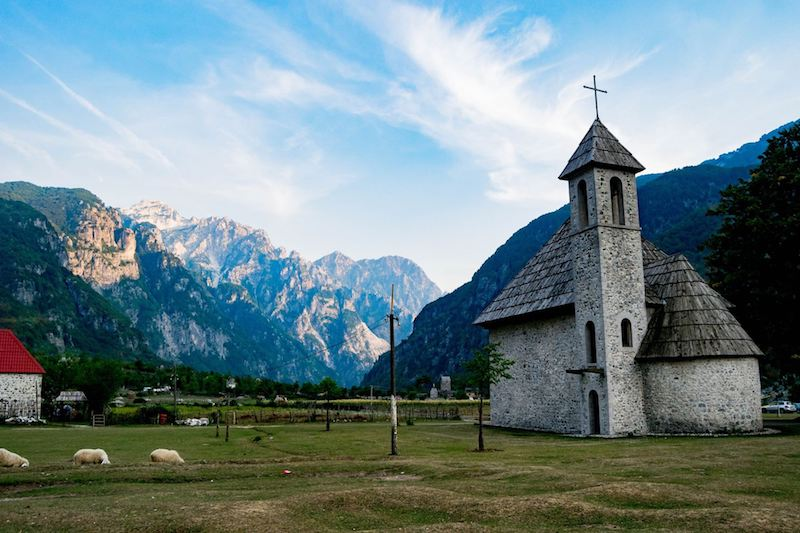 Church in Theth. Read tips for hiking in Albania on Albania's most famous hike: Theth to Valbona! #travel #theth #valbona