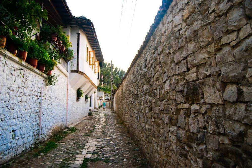 Beautiful street in Berat, Albania. This beautiful Albanian city is recognized by UNESCO for its stunning architecture!