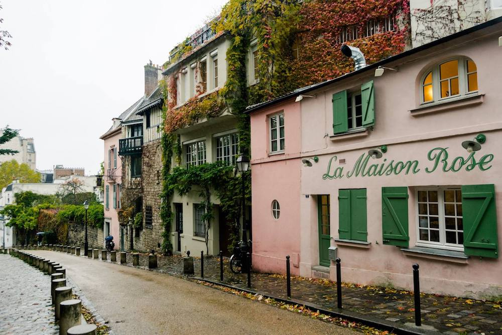 La Maison Rose, one of the most famous sights in Montmartre. Read the perfect itinerary for exploring Montmartre with a free map! #travel #paris #france