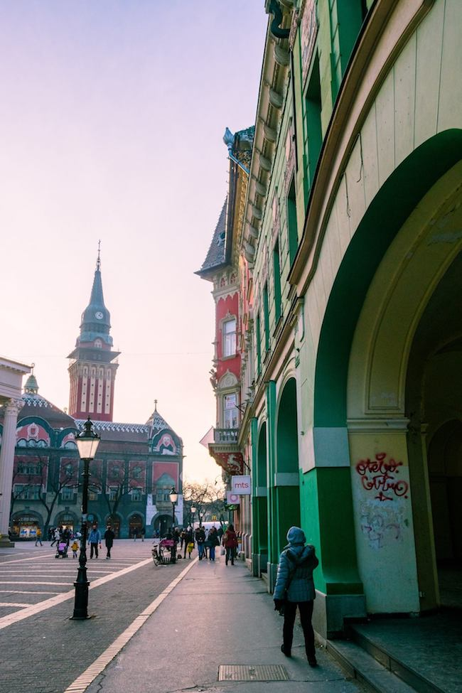 View of city center in Subotica. Walking around the city center in Subotica is one of the best things to do in Subotica Serbia. Read why you need to visit this art nouveau architecture lover's dream city! #travel #balkans #serbia #subotica #europe #architecture #artnouveau