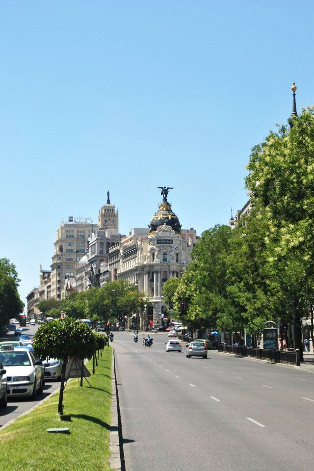 Gran Via, one of the best things to see in Madrid on a budget. Read more insider tips on what to do in Madrid on a budget! #madrid #spain #travel #europe