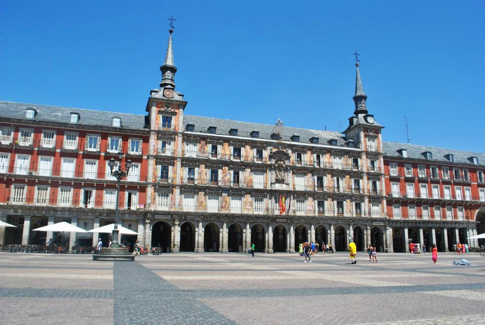 Plaza Mayor in Madrid. Read insider tips on the best cheap things to do in Madrid on a budget. #travel #europe #madrid #spain