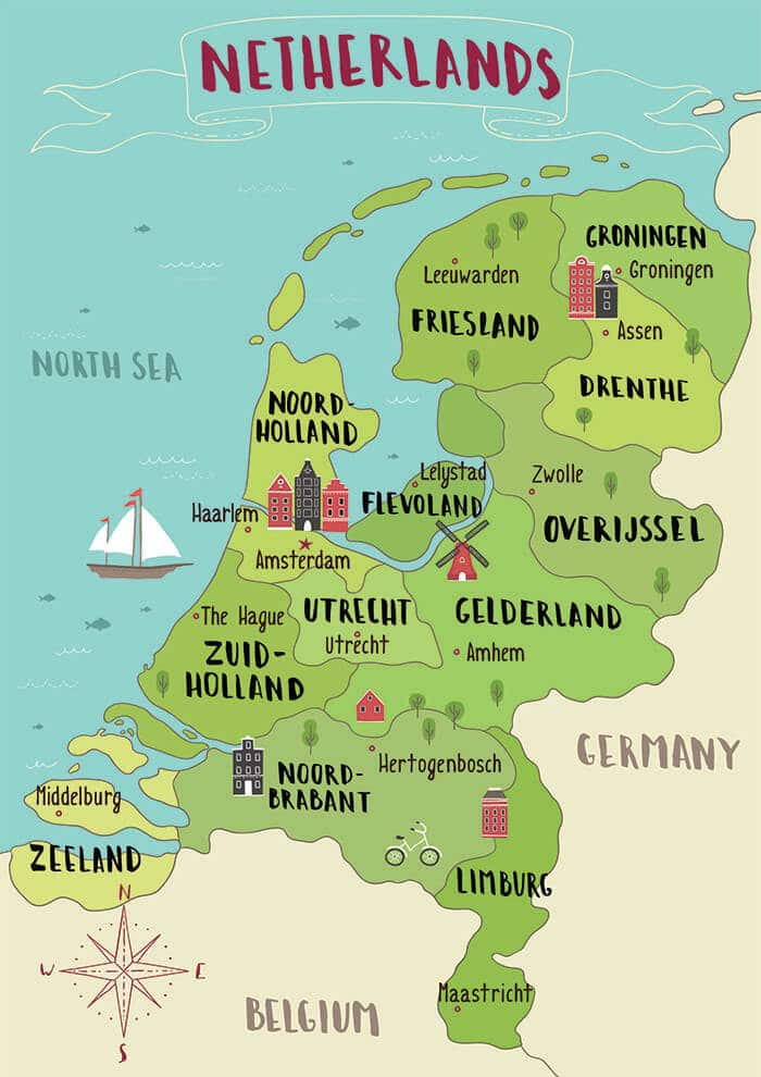 A map of Holland and the Netherlands explaining the difference between Holland and the Netherlands. This map shows where Holland is located in the Netherlands! #travel #holland #netherlands