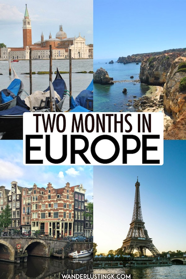 Trying to figure out where to go in Europe? Your perfect European itinerary for two months in Europe with the best cities to visit in Europe, including Paris, Rome, Prague, Lisbon, Porto, and Rhine Valley. This Europe itinerary includes information about European trains and how to get around Europe! #travel #europe #france #netherlands