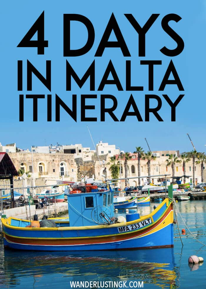 Planning your trip to Malta? Your perfect Malta itinerary for what to do in Malta without a car for a relaxing long weekend in Malta. Includes things to do during four days in Malta while visiting Valletta, Gozo, Mdina, and Marsaxlokk. #travel #Malta #UNESCO #Gozo #Valletta #Europe #Mdina #Marsaxlokk