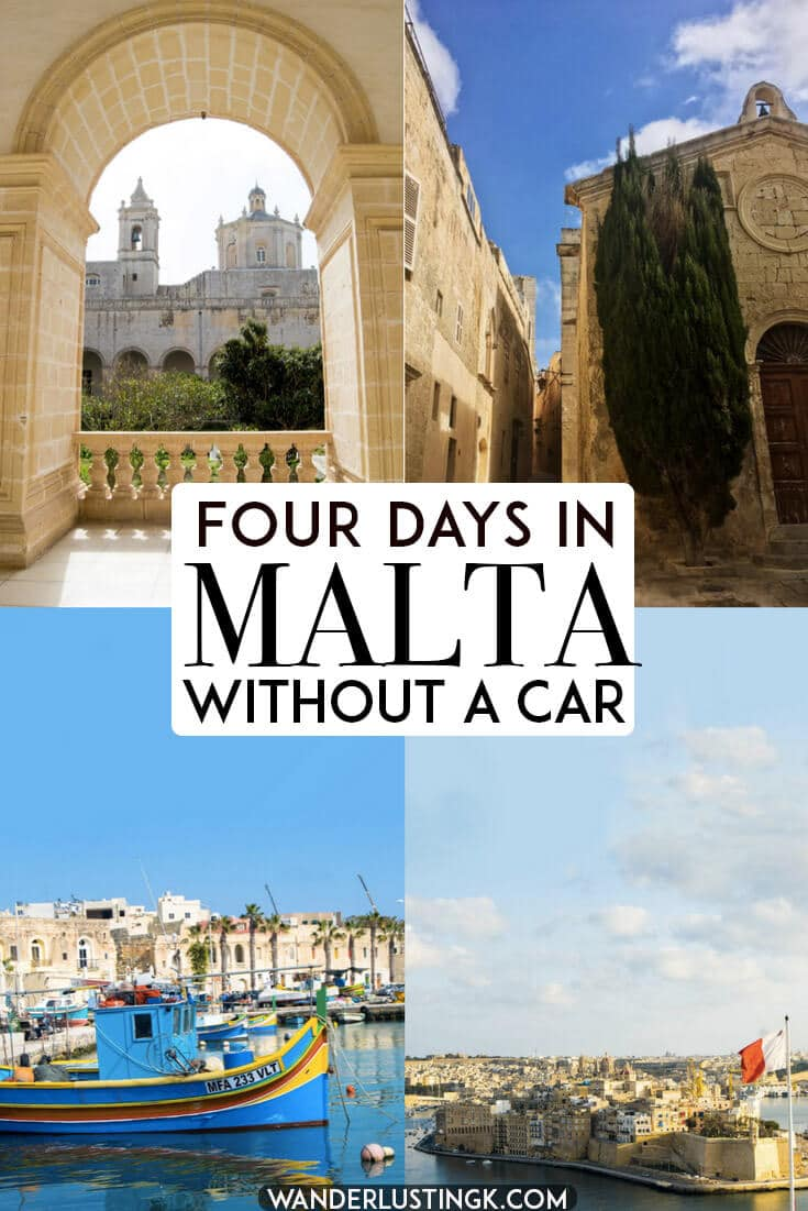 Planning to visit Malta without a car? Your perfect itinerary for four days in Malta without a car including tips for using public transportation in Malta, getting from the Malta airport, and sightseeing in Malta's most beautiful cities in an eco-friendly way. #travel #ecotourism #malta #UNESCO #europe #valleta #gozo