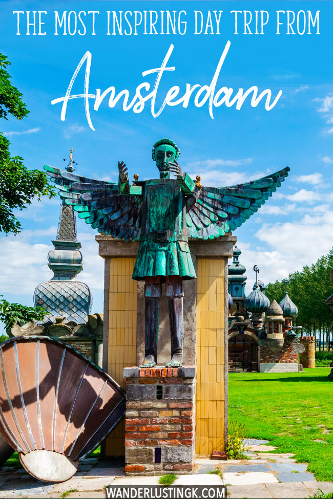 Looking to see some inspiring art? See one man's life's work outside of Holland on the most inspiring day trip from Amsterdam to a kunsttuin (a sculpture garden) where a former blacksmith has been building private sculpture collection for 27 years! #travel #Amsterdam #Holland #art #kunst #kunsttuin