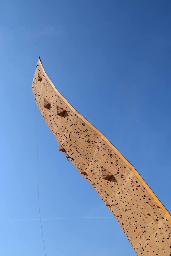 One side of Excalibur climbing wall, one of the crazy climbing walls in the world. Read about what it's like to climb the world's tallest climbing wall located in the Netherlands! #travel #climbing #adventuretravel #rockclimbing
