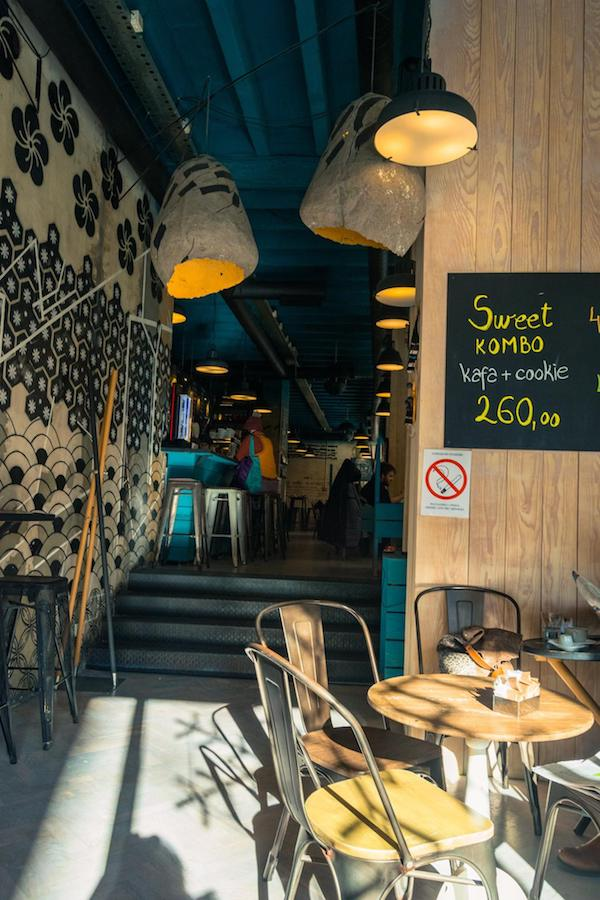 Interior of cafe in Belgrade Serbia. Read this food guide to Belgrade with the best places to eat and drink in Belgrade Serbia! #travel #belgrade #cafe #serbia #design