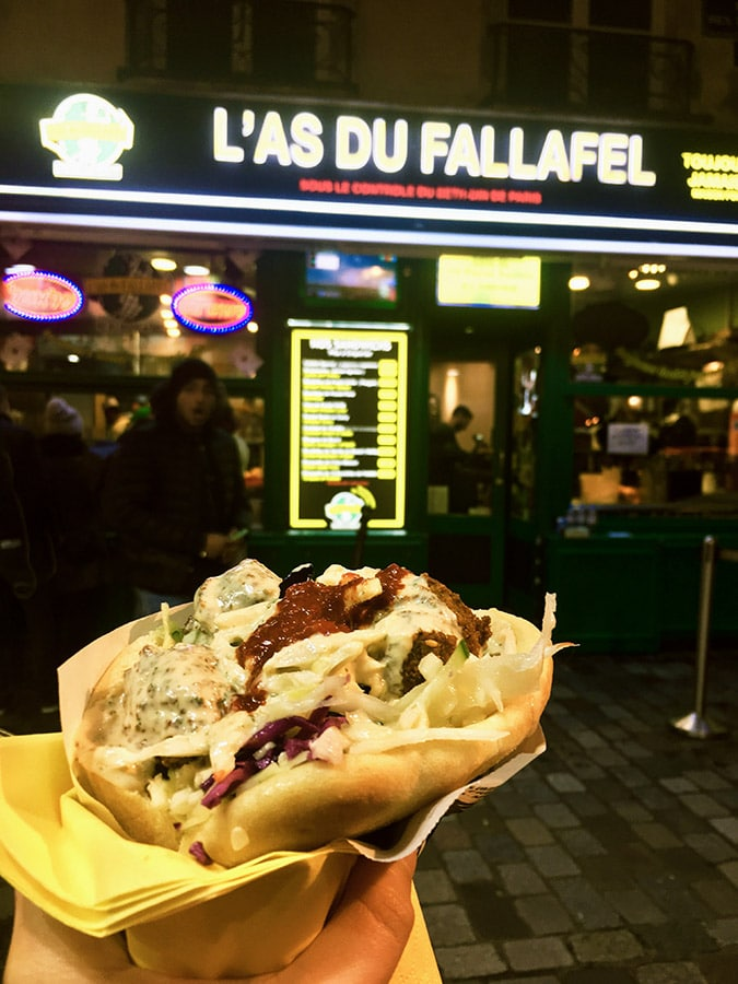 L'as du Fallafel, one of best places to eat in Paris. Read where to eat in Paris in this complete guide to Paris with the perfect Paris itinerary! #travel #paris #europe #france #food