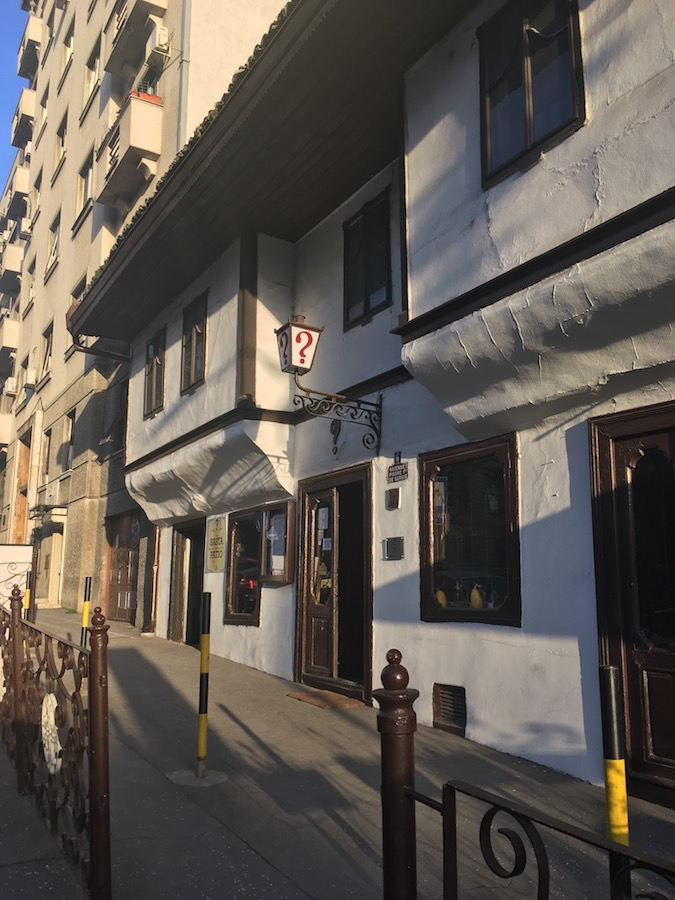 Kafana Question Mark, one of the oldest cafes in Belgrade Serbia. Read about where to eat in Belgrade and where to drink coffee. #travel #coffee #history #belgrade #serbia #balkans