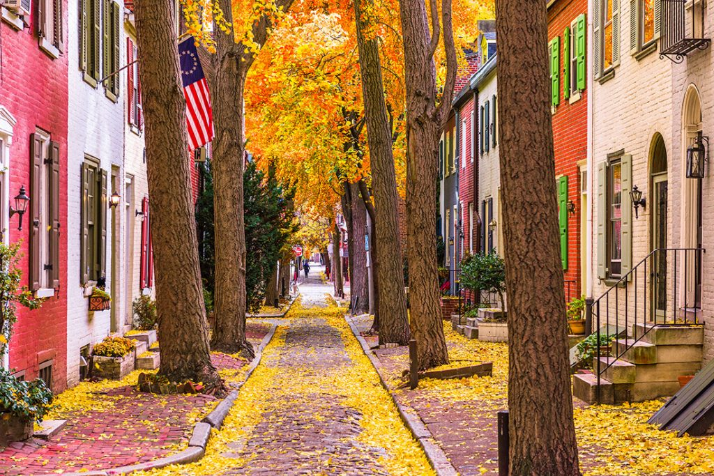 A beautiful street in Philadelphia in fall. Read more local secrets to Philadelphia and how to spend a nice weekend in Philadelphia. #travel #Philadelphia #PA #USA #UnitedStates