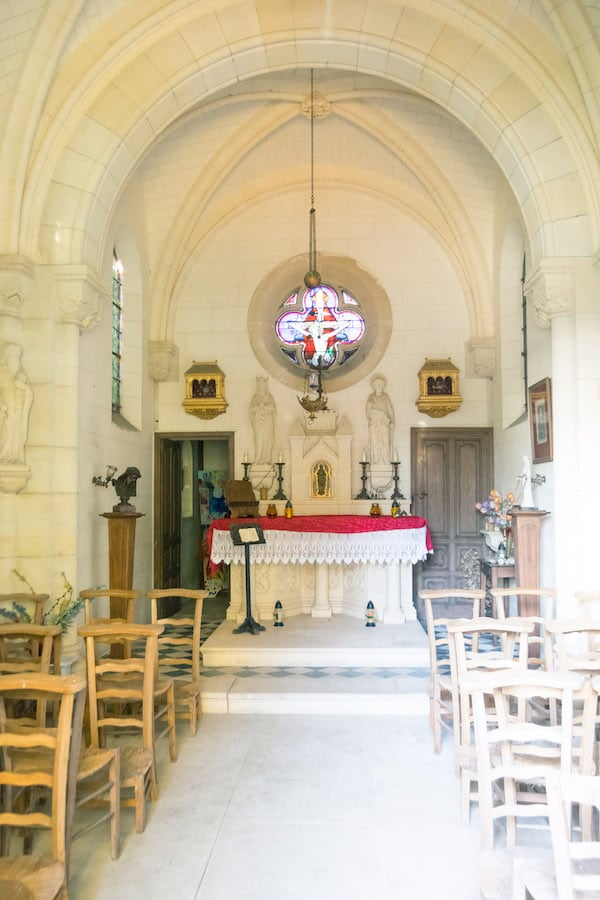 Interior of the private chapel in Normandy France. Read about staying at a chateau in Normandy France! #travel #normandy #france