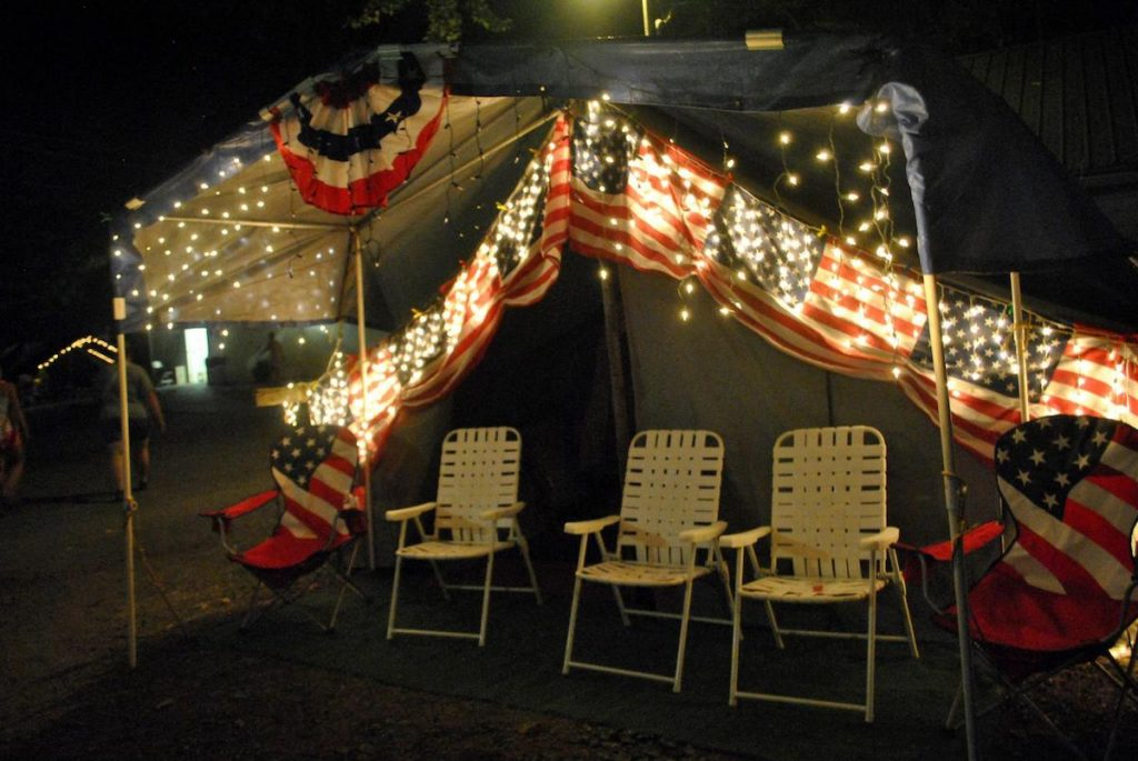 Decorated tent at the Centre County Grange Fair, one of the last agricultural encampment fairs in America.