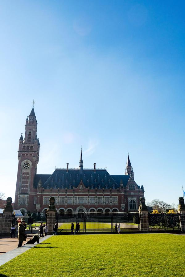 The Peace Palace, one of the landmarks of the Hague. Read about the best neighborhoods in the Hague to stay in with tips for finding the best hotels in the Hague for business and leisure travelers. #travel #holland #netherlands #denhaag