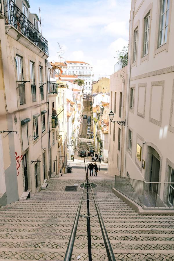 Beautiful streets of Lisbon Portugal. Read how to get a free flight to Lisbon with TAP Portugal Airlines. Read a review of flying on a budget to Europe with TAP Portugal Airlines Economy class. #airlines #Lisbon #travel #Portugal