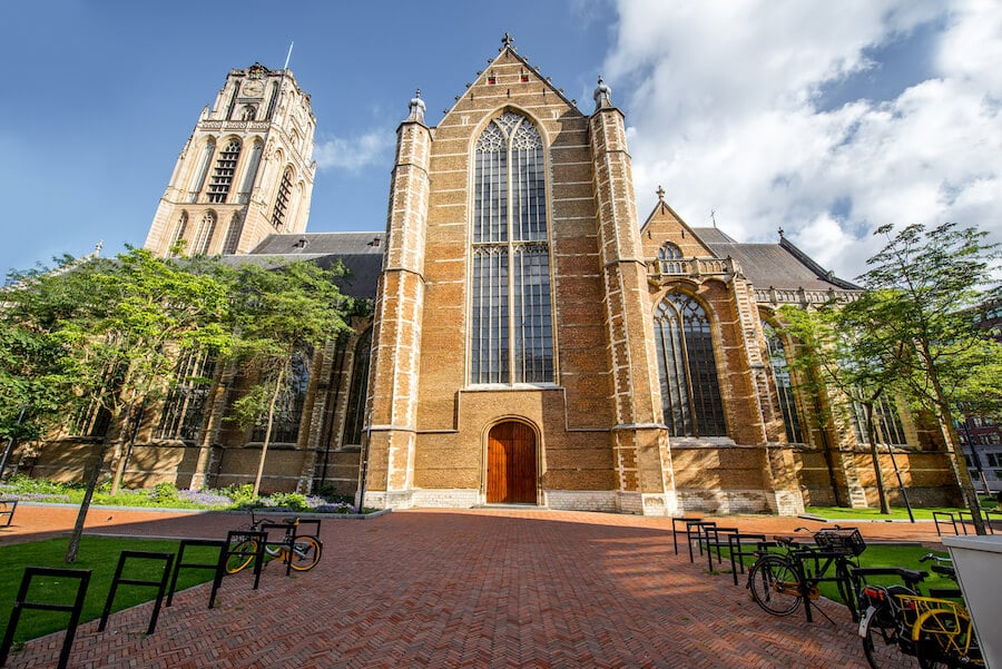 Grote of Sint-Laurenskerk, one of the few remaining remnant of medieval Rotterdam. The view from the top of this church in Rotterdam is not to be missed on your list of things to do in Rotterdam. #travel #church #rotterdam