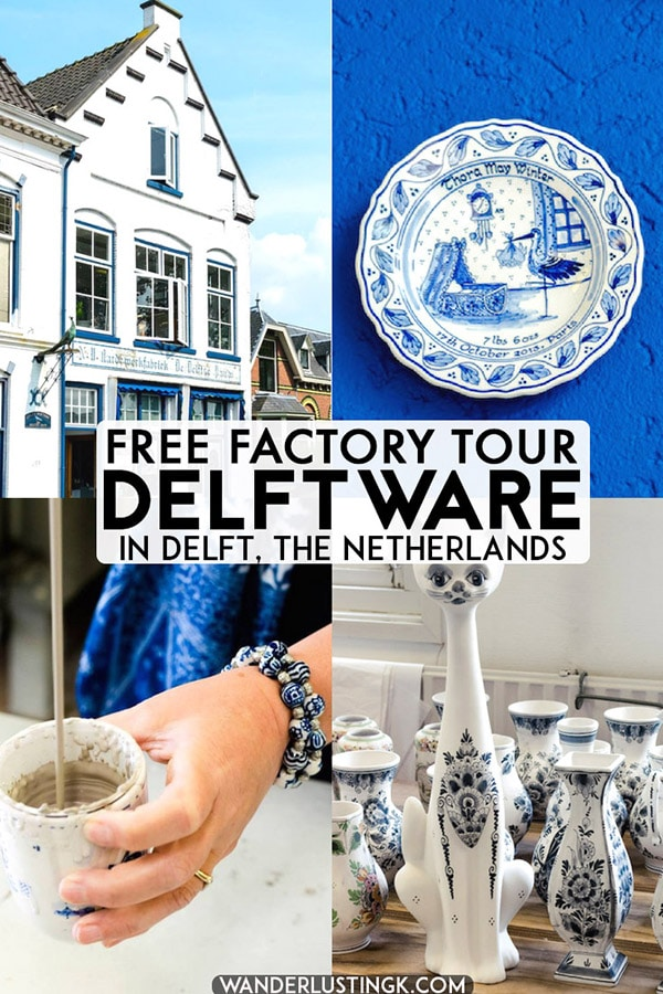 Interesting in visiting Delft, the Netherlands? Take a FREE tour of one of the last Delftware factories in Delft where you can see Delft Blauw made in front of you. Includes tips on where to buy Delft pottery in the Netherlands! #travel #holland #delft #netherlands