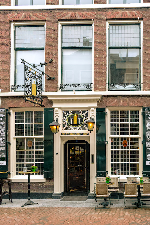 Beautiful cafe (Café De Vergulde Kruik) where the Heineken star was purchased. Read about the best things to do in Leiden. #travel #leiden #holland #cafe #bruinbar