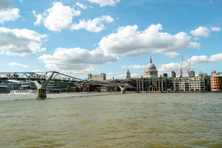 Millennium Bridge in London, one of the most famous Harry Potter attractions in London that you'll want to see in London! #london #harrypotter