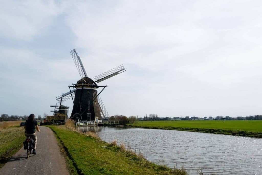 Man riding a bike outside of the Hague near the Molendriegang, one of the most beautiful attractions outside of the Hague. #hague #travel #molen #windmill