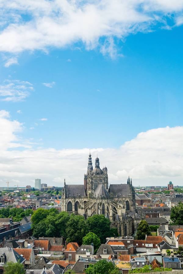 View of St. John's from the jheronimus bosch art center in den bosch. This former church has one of the best views of Den Bosch! #travel #denbosch #brabant