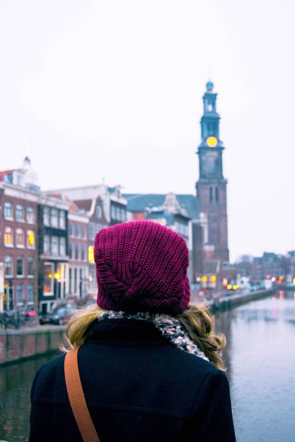 Girl in the Jordan. Don't be afraid to visit Amsterdam in winter! You'll find many fun things to do in Amsterdam in winter that you can't do during the rest of the year. #amsterdam #Netherlands
