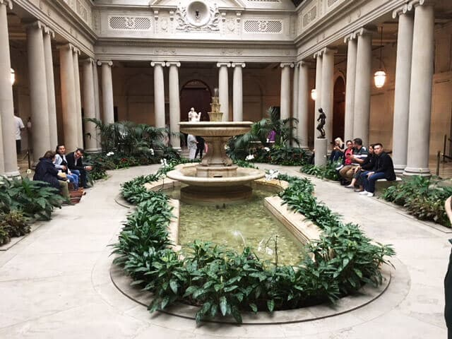 The inner courtyard of the Frick Museum, one of the best museums in New York.
