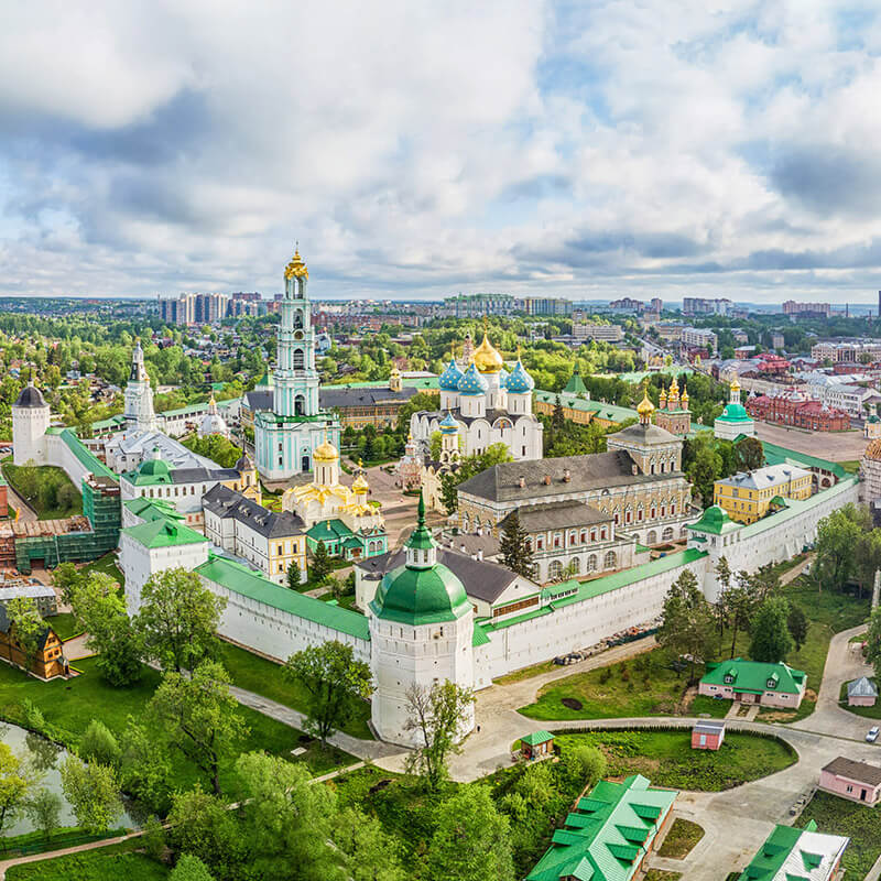 Sergiev Posad, one of the best day trips from Moscow, from above.  This beautiful Russian monastery is a must see on your trip to Russia! #russia #moscow #travel