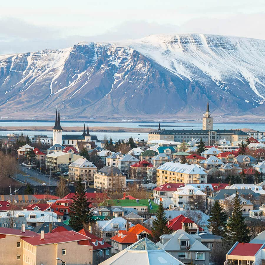 Reykjavik, Iceland from above during winter. Don't be afraid to visit Reykjavik in winter! #Reykjavik #Iceland