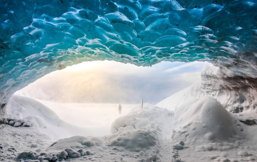 Ice cave in Iceland, one of the most magical things to see in Iceland. These ice caves only form in the winter in Iceland! #iceland #travel