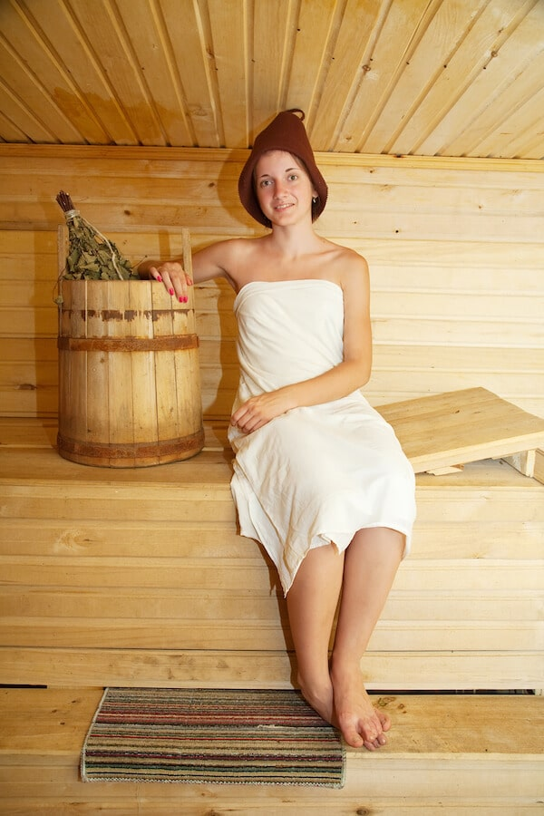 Girl enjoying a Russian banya, one of the best experiences to have in Russia! #russia #travel