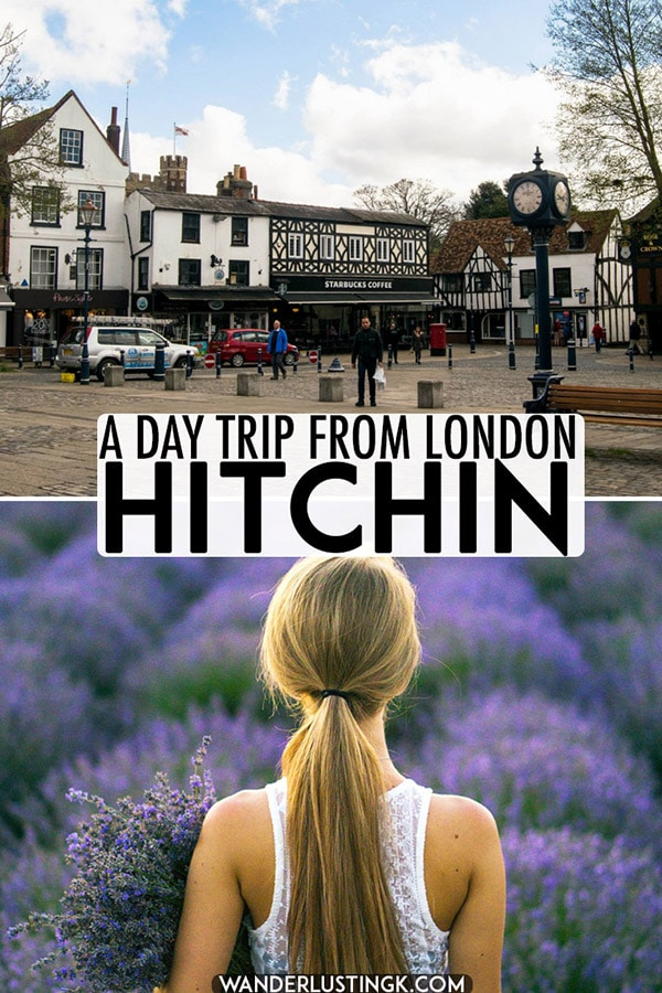 Considering taking a day trip from London or have a layover at Luton Airport? Visit the stunning market town of Hitchin, Hertfordshire, United Kingdom and the beautiful lavender fields of Hitchin. #England #London #travel #UK