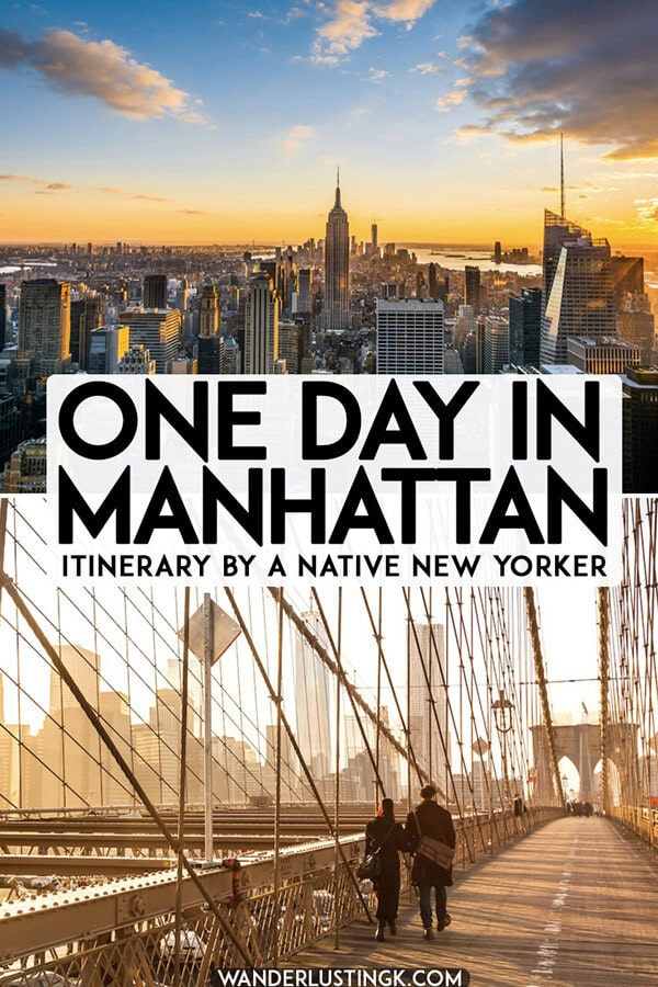 Planning one day in Manhattan, New York City? Your perfect one day itinerary for Manhattan written by a native New Yorker covering the highlights of New York in one day. #NYC #travel #manhattan #USA