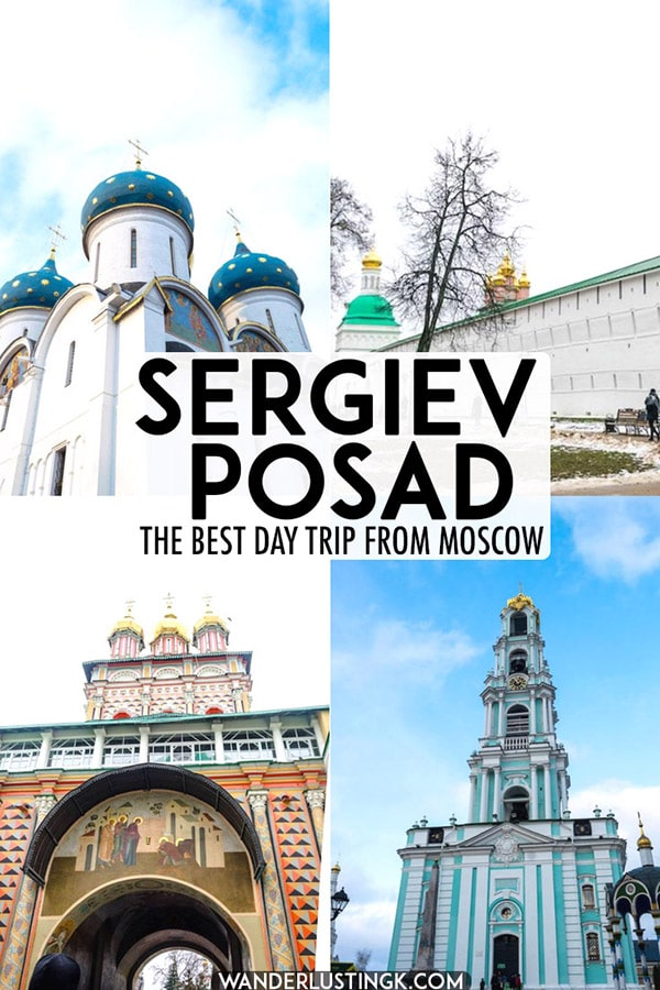 Looking for the perfect day trip from Moscow, Russia? Read why you should visit Sergiev Posad and what you need to know before visiting the beautiful St. Sergius Monastery. This stunning Russian monastery is on the UNESCO World Heritage List! #Russia #UNESCO #Europe #Churches #Travel #Moscow